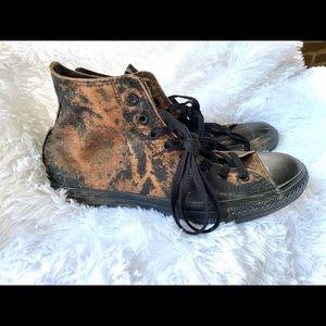 Acid wash distressed brown and black converse